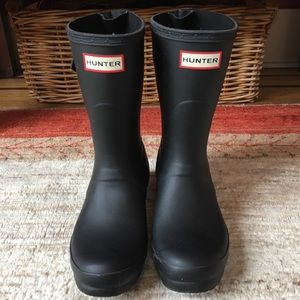 Hunter Short Back Adjustable Rain Boots Black Sz 7
